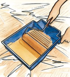 ©2006 Publications International, Ltd. To load a roller, fill the well of the pan about half full and set the roller into the well. Then lift the roller and roll it down the slope of the pan two or three times to work paint into the roller.