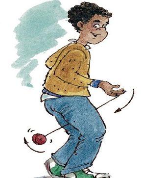 Swing the yo-yo between your legs, below the knee.