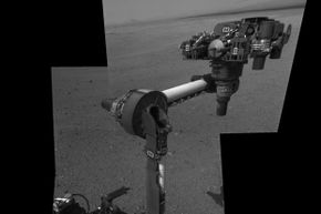 A composite image shows the NASA's Curiosity Mars rover with its robotic arm extended for the first time on Mars, Aug. 20, 2012. Could there be a time when every space object communicates with each other rather than just with Earth-based stations?