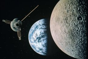 Satellite floating in space, with the moon in foreground and Earth in background.