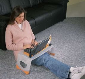 This woman is enjoying her Lapstation.