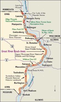 This map will help guide you along the Iowa Great River Road.