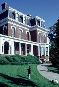 ©2Byways.org This imposing white-trimmed brick mansion in Council Bluffs is a National Historic Landmark. It was built in 1869.