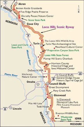 Follow this map of Loess Hills Scenic Byway.