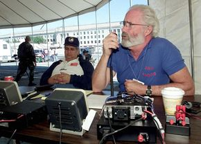 Amateur or ham radio operators can use VoIP technology to set up temporary stations such as this one used by the Red Cross following Sept. 11.