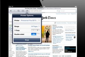 If you have a printer on your wireless network, you can print Web pages from the iPad Safari browser.