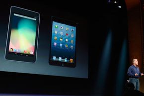 During the iPad Mini unveiling presentation, Phil Schiller compared the new tablet to the Android tablet. One of the Mini's selling points is its larger screen real estate when compared to competitors.