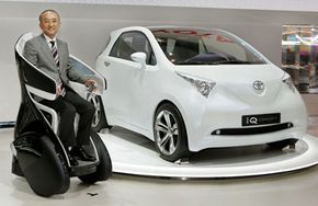 Katsuaki Watanabe, president of Japan's auto giant Toyota Motor, introduces the fuel-efficient and low-emission iQ Car. See more small car pictures.