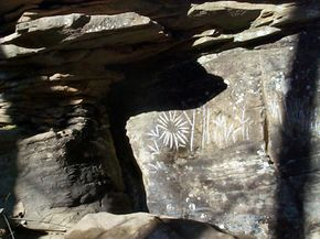 These petroglyphs in West Viriginia were thought to be carved in Ogam, an Irish script used from the 6th to 8th centuries.