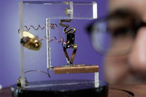 This is a model of the earliest transistor -- today's microprocessors have millions or even billions of them.