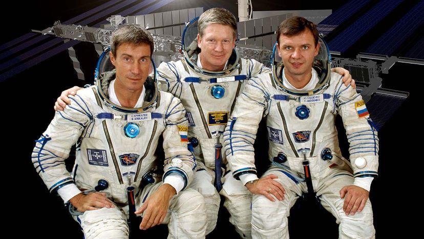Sergei K. Krikalev, William M. Shepherd and Yuri Pavlovich on the ISS