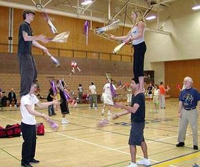 It takes math and physics to keep these jugglers up.