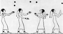 Artwork from an Egyptian tomb showing a group of jugglers.