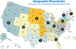 Twelve appeals courts and 94 district courts serve the United States and its territories.
