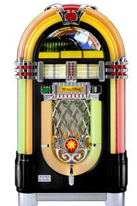 This is the Wurlitzer 1015, one of the most famous and iconic jukeboxes ever. Its jazzy styling echoed society's post-World War II euphoria.