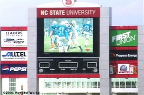 Jumbo screens like this one are widely used in sports arenas.
