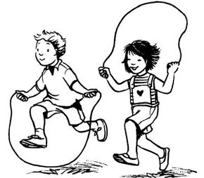 A jump rope race is great way for kids to get some exercise.