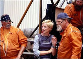 """Cathy Rogers, the creator of """"Scrapheap Challenge"""" and """"Junkyard Wars,"""" with team members"""