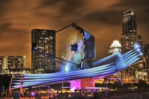 A full-scale model of the James Webb Space Telescope dazzles the city of Austin, Texas, during the 2013 South by Southwest festival.