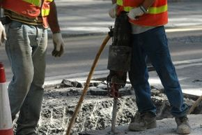 Shift change! Rotating the workers running a jackhammer helps reduce the risk of damage from the repetitive stress on their muscles and bones.