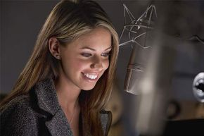 OK, this voice-over artist is not in her pajamas -- but she could do her job that way!