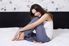 Being a lingerie model doesn't only mean camisoles and teddies -- sometimes you wear PJs too.