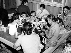Internees ate together in a mess hall, which caused family structure to suffer when teenagers chose to eat with their friends.