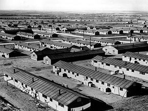 The housing barracks, built by the U.S. Army engineer corps, at the internment center where Japanese Americans are relocated in Amache, Colo., are shown on June 21, 1943.