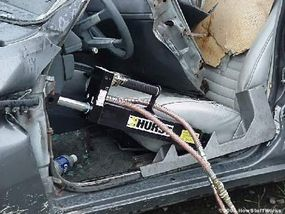 A ram can be used to push a collapsed dashboard forward to free a victim.