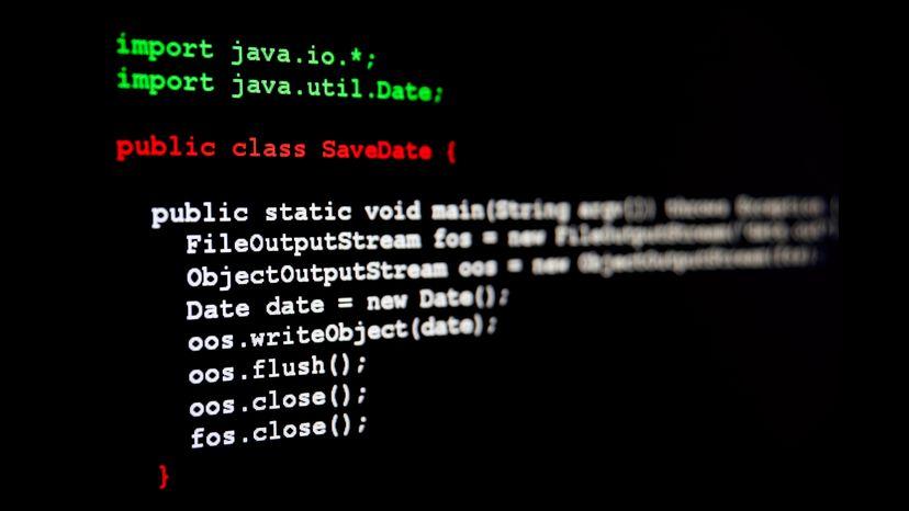 Generic java programming code written on black screen
