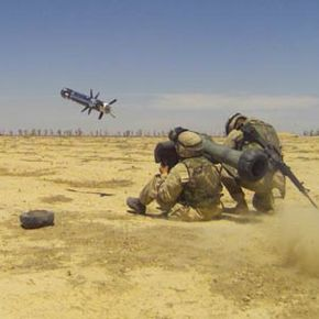 A soldier fires a Javelin missile from the shoulder-mounted CLU. See more missile pictures.