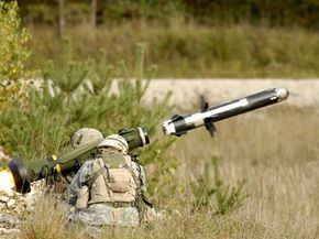 A live firing of a Javelin missile.