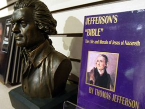 Today, you can find the Jefferson Bible in bookstores, libraries and museum gift-shops as well as the Thomas Jefferson Memorial, where it's displayed in this image.