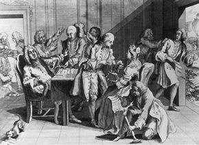 Robert Jenkins shows his severed ear to British Prime Minister Robert Walpole in a 1738 depiction of his presentation at Parliament.