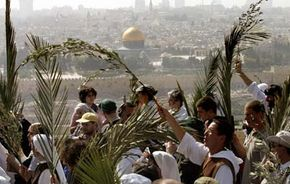 Pilgrims carry palm branches during the Palm Sunday procession from the Mount of Olives into Jerusalem's Old City.