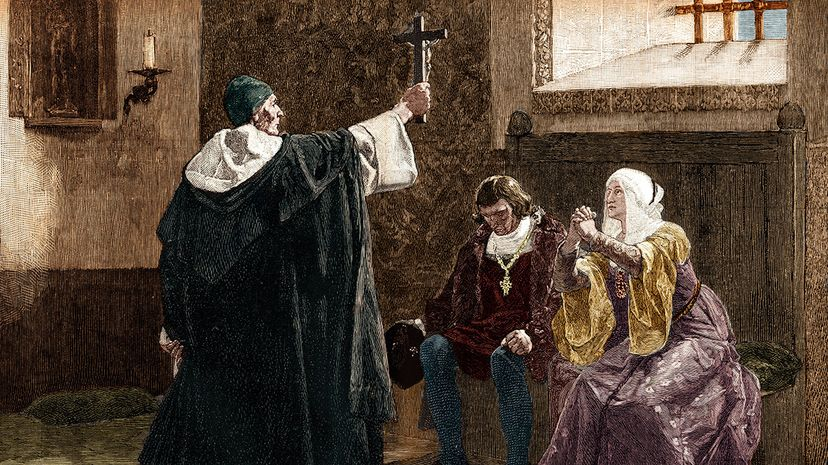 Tomas de Torquemada, grand inquisitor of the Spanish Inquisition, is illustrated with King Ferdinand II and Queen Isabella in 1478. Torquemada was extremely hostile toward Jews and likely influenced  the issuance of the Edict of Expulsion. Stefano Bianchetti/Corbis via Getty Images