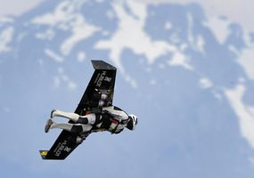 Yves Rossy flies his jet-powered winged suit over the Alps in 2008.