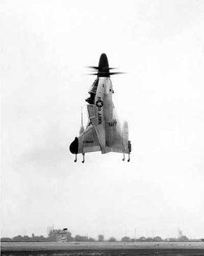 """The Convair XFY-1 """"Pogo"""" was a vertical takeoff and landing (VTOL) fighter that could operate from any deck, not just an aircraft carrier."""