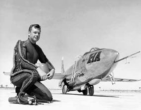 """On August 26, 1954, Major Arthur """"Kit"""" Murray set an altitude record of 90,440 feet in the Bell X-1A. He is shown here in the protective pressure suit of the time."""