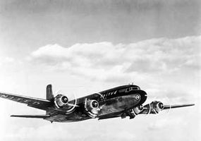 The mighty Douglas Aircraft Company built the DC-6 in reaction to the Lockheed Constellation. The DC-6 could carry from 48 to 86 passengers at a cruising speed of 315 miles per hour.