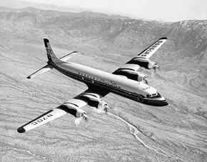 The Douglas DC-7C was at the peak of piston-engine airliner development, with intercontinental range and cruising speeds of 360 miles per hour.
