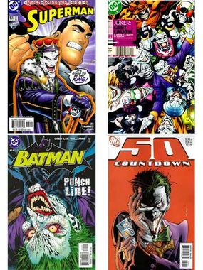 """Most recently, the Joker has declared himself emperor (Superman #161), released an army of Joker-Venom-fueled super-villains (""""Joker: Last Laugh"""" #2), nearly been beaten to death by Batman (Batman #614), and played mind games with Superman's pal, Jimmy Olsen (Countdown #50)."""
