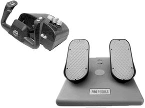 Steering wheel and pedal controls work on the same basic system as conventional joysticks.