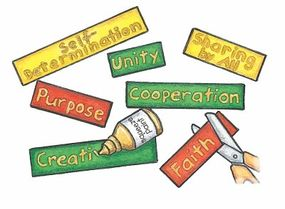 Write the seven principles of Kwanzaa on pieces of felt.