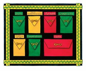 Kwanzaa calendar with seven pockets -- one for each holiday principle.