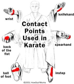 One crucial element of karate is focusing the energy of a punch or kick into a relatively small point of contact.
