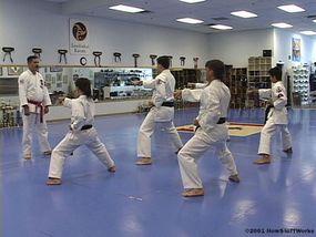 Master instructor Rob Olevsky leads karatekas through practice exercises.