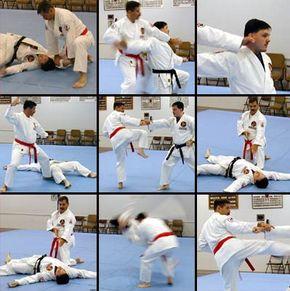Rob Olevsky, a ninth-degree black belt, and Tony Letourneau, a fourth-degree black belt, practice freestyle sparring.