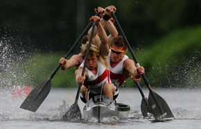 The German canoe team competes during the Canoeing World Cup on May 29, 2005 in Duisburg, Germany. See more pictures of extreme sports.