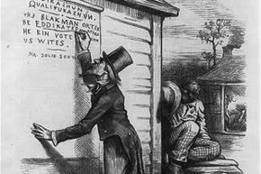 """This cartoon showing Uncle Sam writing on wall, """"Eddikashun qualifukashun. The Black man orter be eddikated afore he kin vote with US Wites, signed Mr. Solid South"""", lampooning the South's literacy tests."""